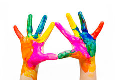 Painted child hands colorful fun isolated. On white background Royalty Free Stock Photography