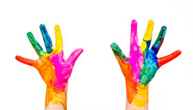 Painted child hands colorful fun isolated on white Stock Photo
