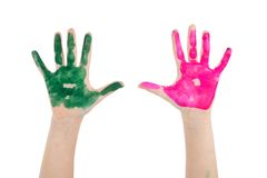 Painted child hands. Royalty Free Stock Images