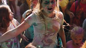 Painted children at the festival of colors Holi. stock video footage