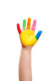 A painted children hand Stock Photography
