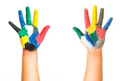 Painted children hand. Isolated on white background stock images