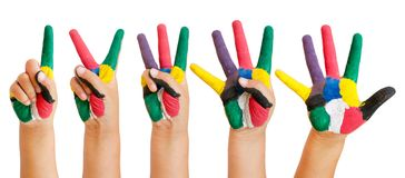 Painted children hand. Isolated on white background stock photos