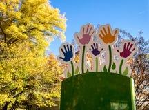 Painted Children's Handprints Stock Photos