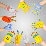 Painted children's hands Royalty Free Stock Images