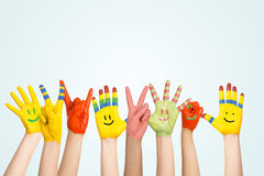 Painted children's hands Royalty Free Stock Photography
