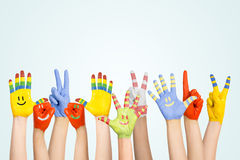 Painted children's hands Royalty Free Stock Photos