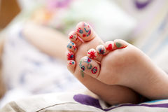 Painted childrens fingers feet Royalty Free Stock Photo