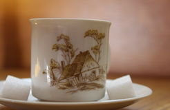Painted china tea cup with pattern of countryside house, with cubes of sugar Stock Photography