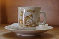 Painted china tea cup with pattern of countryside house, with cubes of sugar Stock Photos