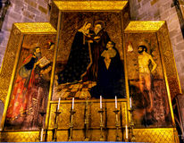 Painted Choir Stall Mary Saint Sebastian Gothic Catholic Barcelo Royalty Free Stock Images