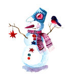 Painted Christmas background with snowman. Hand painted Christmas background with snowman and bullfinch. Watercolor raster illustration Royalty Free Stock Photo
