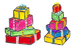 Painted Christmas gifts concept Royalty Free Stock Image