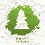 Painted Christmas tree. Crumpled paper Stock Images