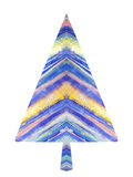 Painted Christmas tree isolated on a white backgrounds. Abstract New Year tree. Illustration for your design Stock Photography