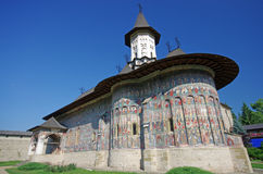 Painted church in Moldavia Stock Photo