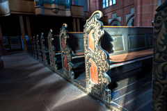 Painted church pews in the Wetzlar Cathedral Royalty Free Stock Photography