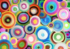 Painted circles. Illustration of many bright colourful painted circles Royalty Free Stock Photos
