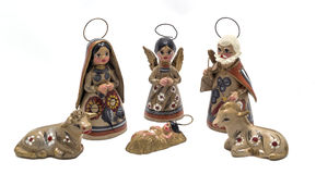Painted clay nativity scene. Typical mexican handicraft christmas decoration stock images