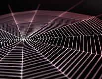 Painted cobweb. Detail  of a white painted spiderweb in dark back, red illuminated Royalty Free Stock Images