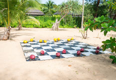 Painted Coconuts Used as Giant Checkers on a Tropical Beach. Red and yellow painted coconuts serve as checkers on a vinyl board stretched over the sand at a Stock Images