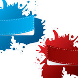 Painted color labels with paint splatter Royalty Free Stock Images