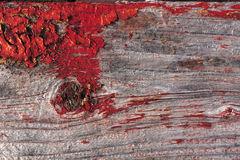 Painted color peel off from old gray wood plank texture. Old painted fence red background Stock Image