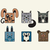 Painted, color set square animals Royalty Free Stock Photo