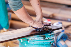 Painted color on wood for new furniture Royalty Free Stock Photography