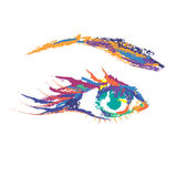 Painted Colored Eye. Vector painted colored eye on white background Royalty Free Stock Photography