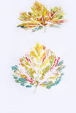 Painted colorful autumn leaves -watercolor style Stock Photo