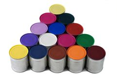 Painted colorful cans. Stock Photo