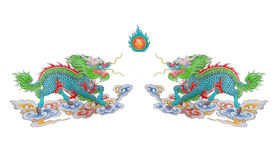 Painted of colorful Chinese dragons. Painted of colorful Chinese dragon with fire on white background Royalty Free Stock Images