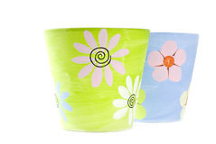 Painted Colorful Clay Flower Pots Stock Photos