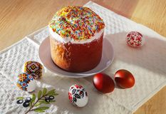 Painted colorful Easter bread royalty free stock image