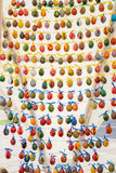 Painted colorful easter eggs. On the string Royalty Free Stock Photos
