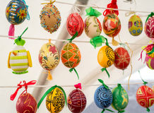 Painted colorful easter eggs. On the string Stock Image