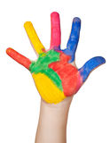 Painted colorful hand. isolated Royalty Free Stock Photos