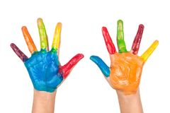 Painted colorful hands of kid on white background Royalty Free Stock Photography