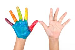 Painted colorful hands of kid on white background Royalty Free Stock Photo