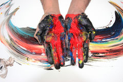 Painted colorful hands Stock Photography