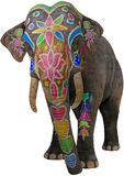 Painted Colorful Indian Elephant Isolated Stock Photography