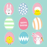 Painted colorful pattern egg frame set Bunny rabbit hare holding carrot. Chicken bird with shell. Happy Easter text. Dash line con Royalty Free Stock Image
