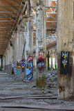 Painted columns Stock Image