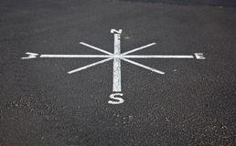 Painted compass on road surface. Unusual compass painted in white on black road surface - could be used for leadership slide Royalty Free Stock Image