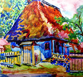 Painted cottage. Hand-painted cottages watercolor picture Stock Photography