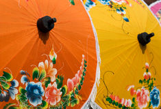 Painted cotton umbrellas Royalty Free Stock Photography