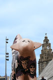 Painted Cow sculpture on Albert Dock in Liverpool Merseyside England Royalty Free Stock Photography