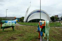 Painted cows in the meadow near Maassluis Stock Image