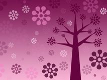 Painted crimson tree on pink background, pink flowers, floral pr royalty free stock photography